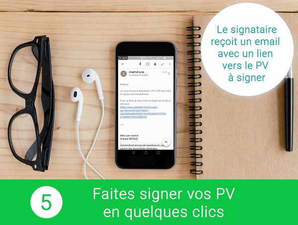 Notification de la signature électronique du PV